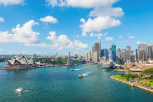 Aerial view Sydney Harbour Opera House