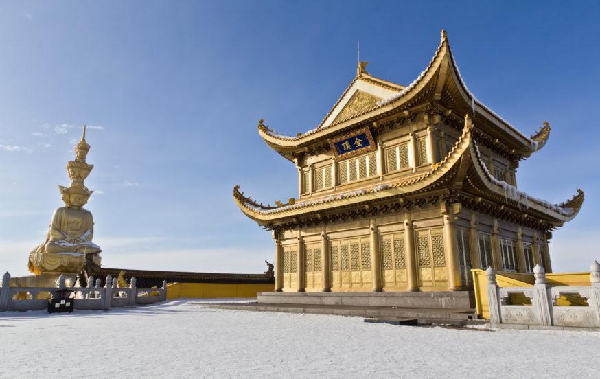 Buddhist monastery top of Emei mountains