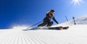 Female skiier on the snow slopes