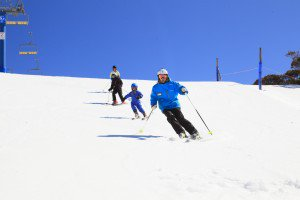 Mt Buller group skiers on the slopes