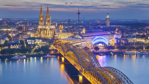 Cologne Bridge at night in Germany
