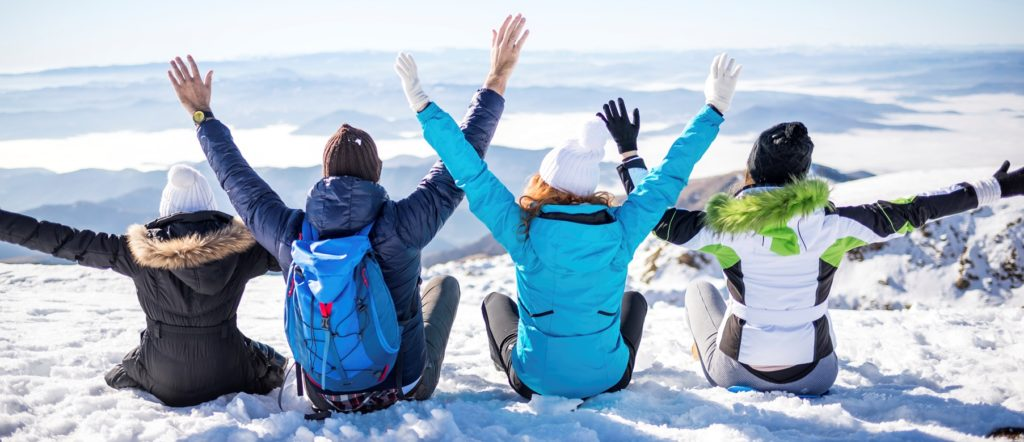 Snow friends having fun