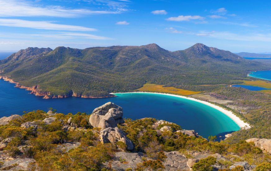 Wineglass Bay from Mt Amos - Freycinet National Park - Tasmania - Australia