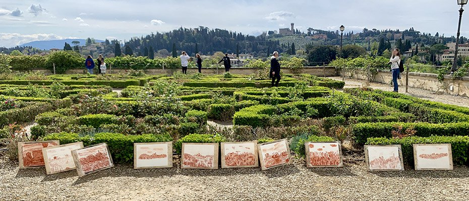 Displayed drawings at the Boboli Gardens Florence