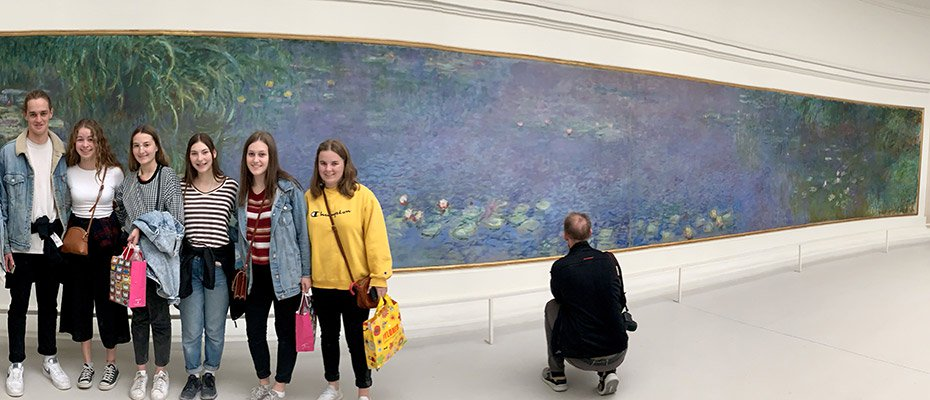 Waterlily paintings with some-of group at LOrangerie Paris